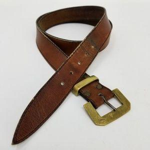 Austin Reed Vtg Leather Belt Unique Flat Buckle L